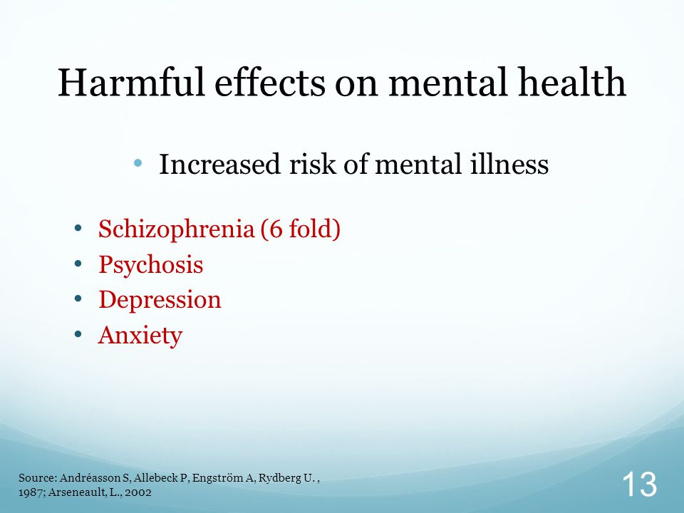 Harmful effects on mental health