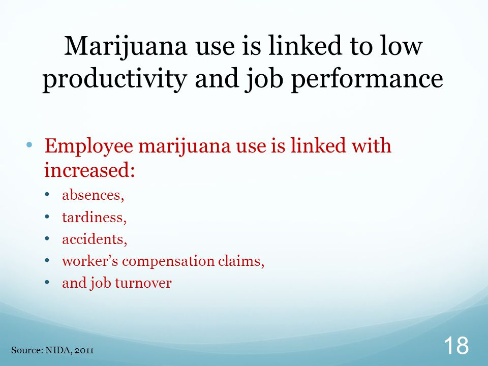 Marijuana use is linked to low productivity and job performance