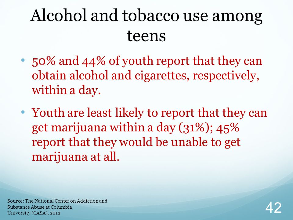 Alcohol and tobacco use among teens
