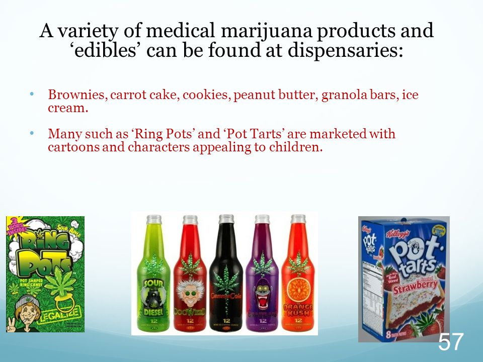 A variety of medical marijuana products and 'edibles' can be found at dispensaries: