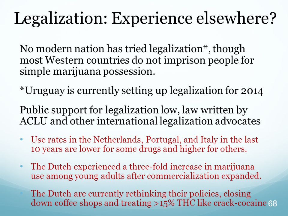 Legalization: Experience elsewhere