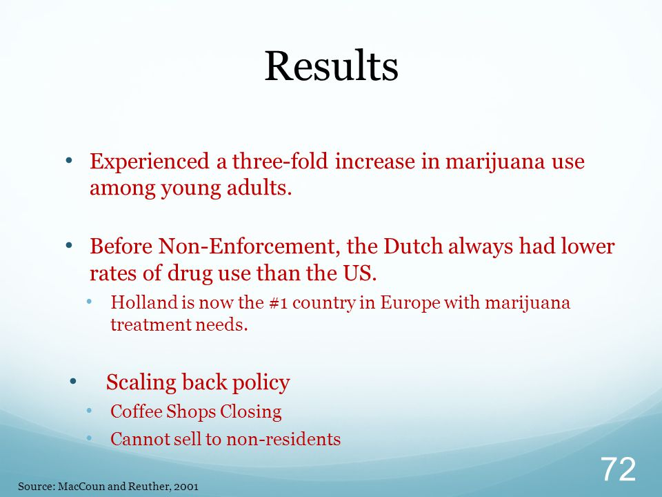 Results Experienced a three-fold increase in marijuana use among young adults.