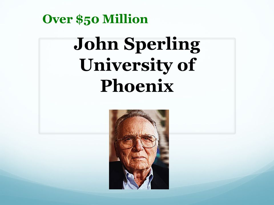 John Sperling University of Phoenix