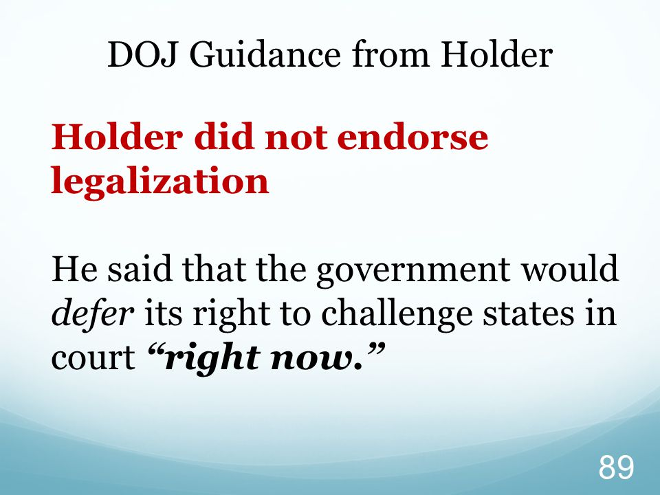 DOJ Guidance from Holder