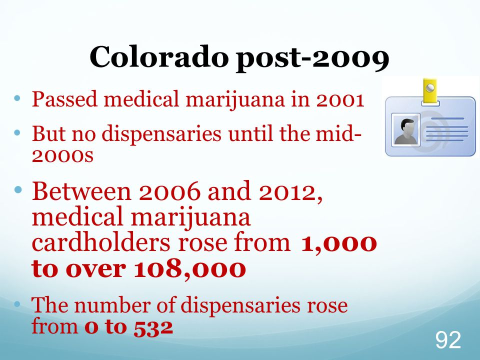 Colorado post-2009 Passed medical marijuana in 2001. But no dispensaries until the mid- 2000s.