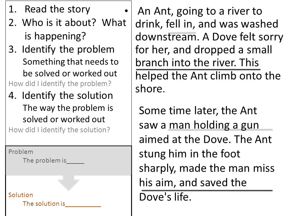 Read the story 2. Who is it about What is happening 3. Identify the problem. Something that needs to be solved or worked out.