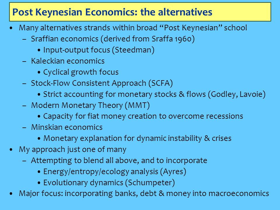 Post Keynesian Economics: the alternatives