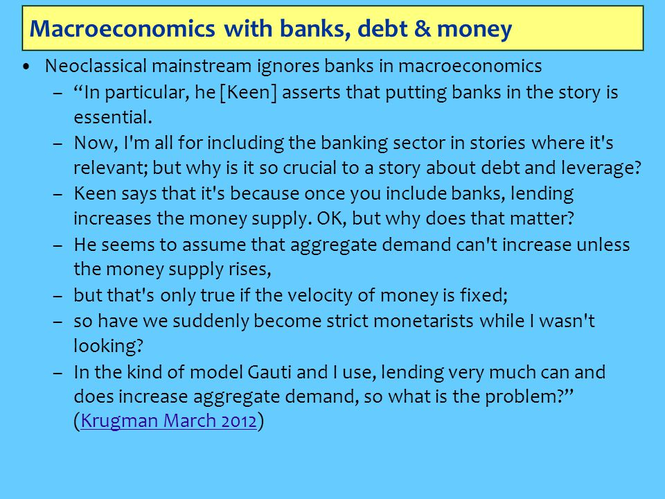 Macroeconomics with banks, debt & money