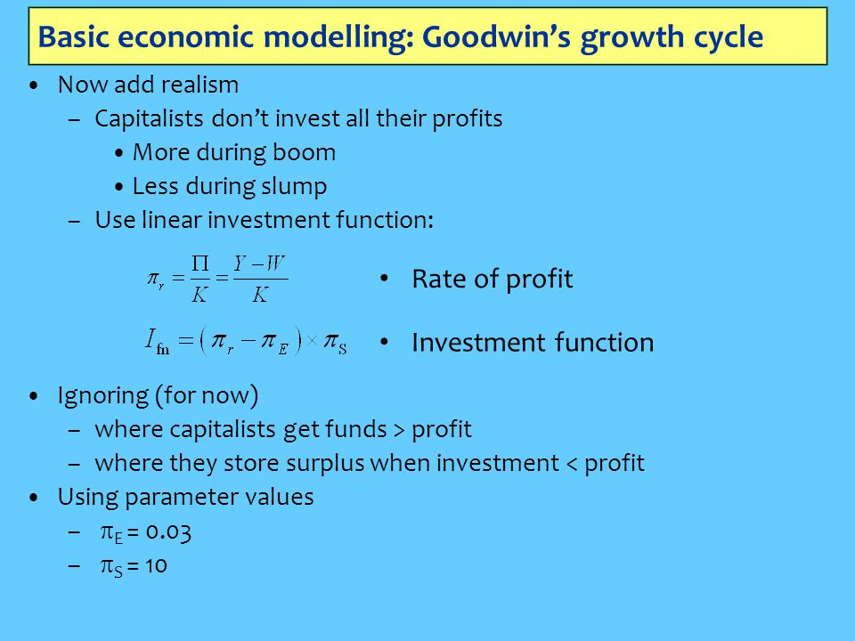 Basic economic modelling: Goodwin's growth cycle