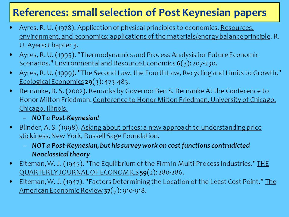 References: small selection of Post Keynesian papers