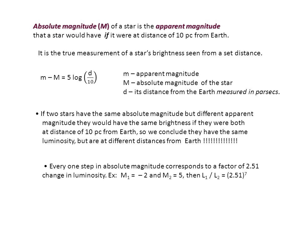 Absolute magnitude (M) of a star is the apparent magnitude
