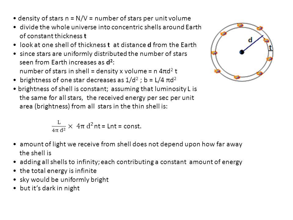 • density of stars n = N/V = number of stars per unit volume
