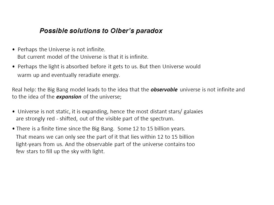 Possible solutions to Olber's paradox