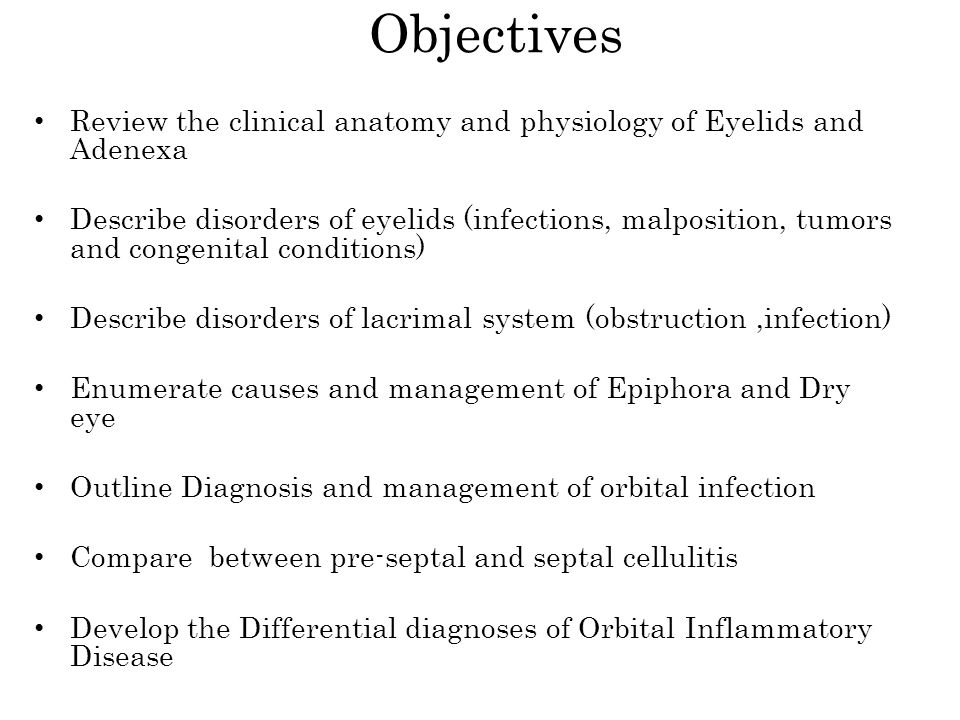 Objectives Review the clinical anatomy and physiology of Eyelids and Adenexa.