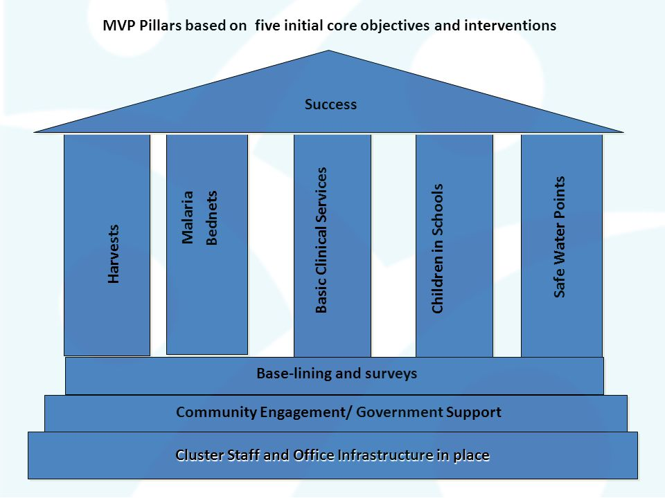 MVP Pillars based on five initial core objectives and interventions