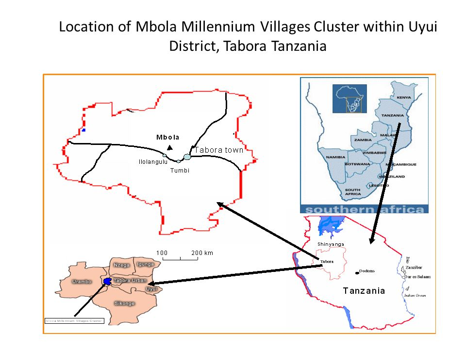 Location of Mbola Millennium Villages Cluster within Uyui District, Tabora Tanzania