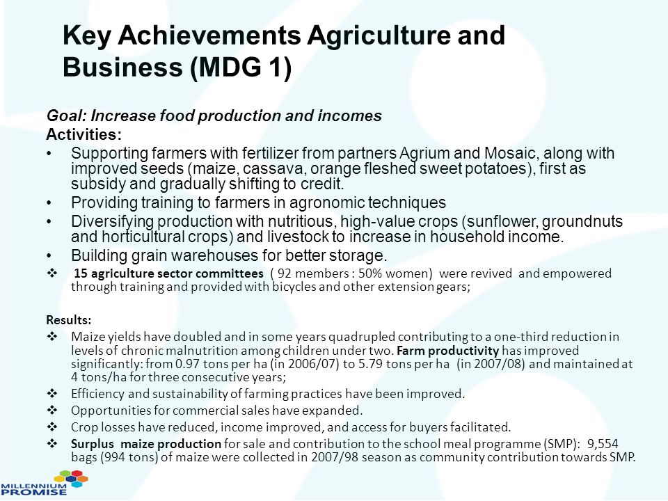 Key Achievements Agriculture and Business (MDG 1)