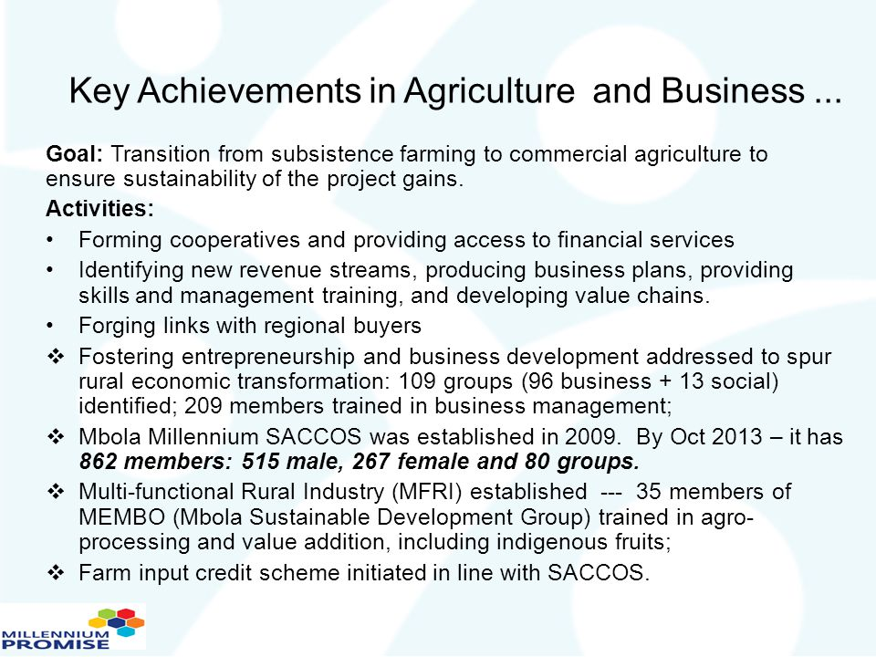 Key Achievements in Agriculture and Business ...