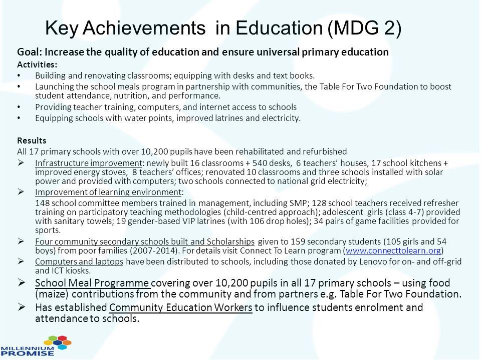 Key Achievements in Education (MDG 2)