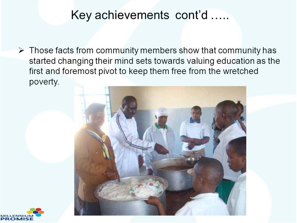 Key achievements cont'd …..