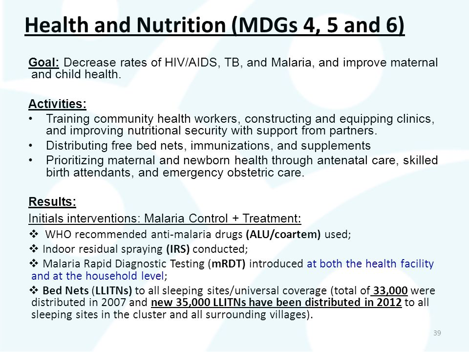 Health and Nutrition (MDGs 4, 5 and 6)