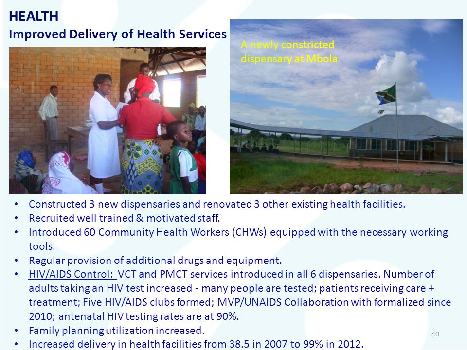 HEALTH Improved Delivery of Health Services A newly constricted