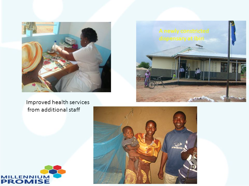 A newly constricted dispensary at Ibiri Improved health services from additional staff