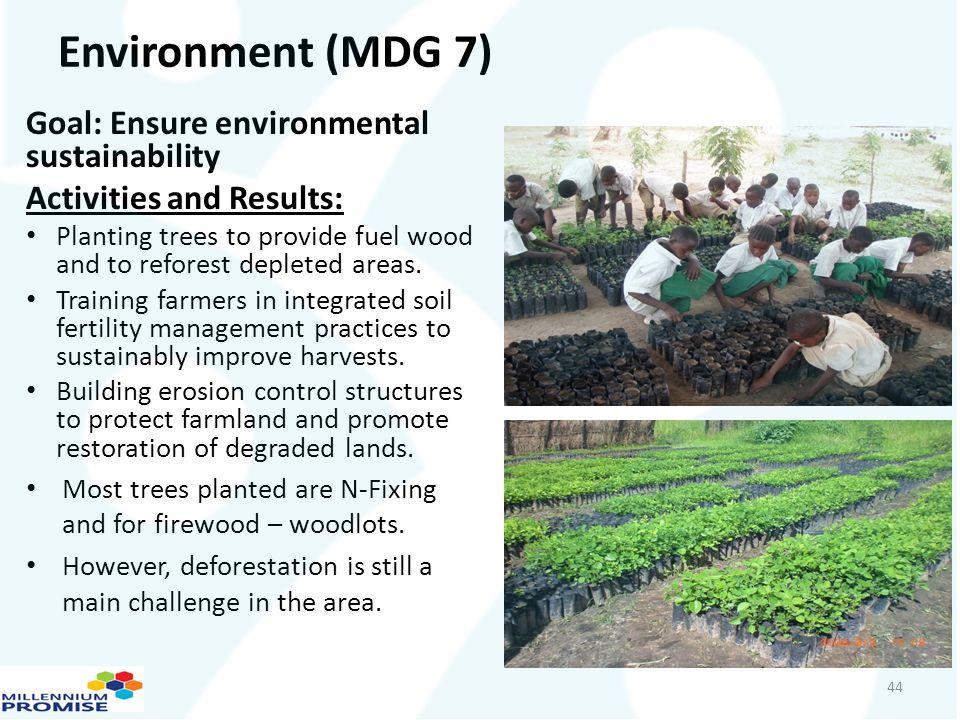 Environment (MDG 7) Goal: Ensure environmental sustainability