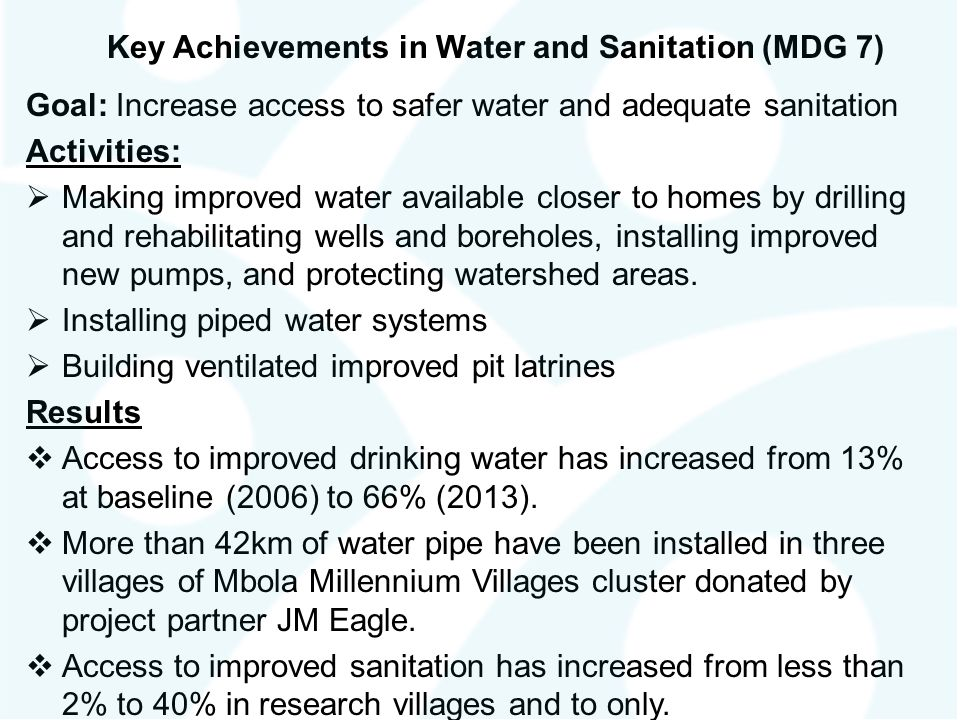 Key Achievements in Water and Sanitation (MDG 7)