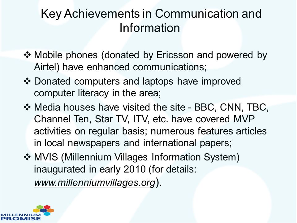 Key Achievements in Communication and Information