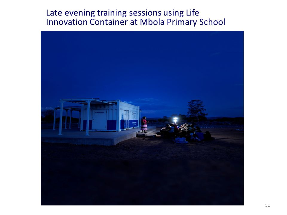 Late evening training sessions using Life Innovation Container at Mbola Primary School