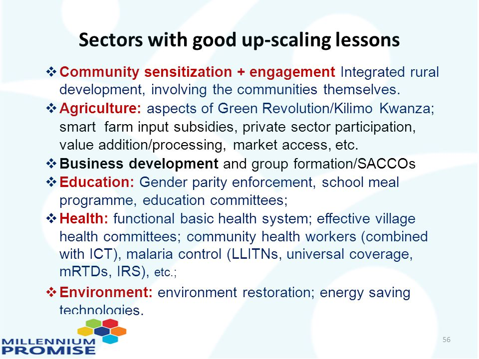 Sectors with good up-scaling lessons