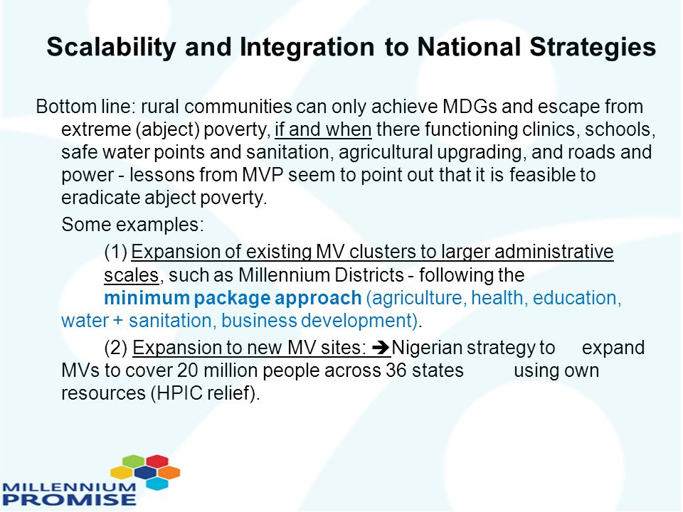 Scalability and Integration to National Strategies