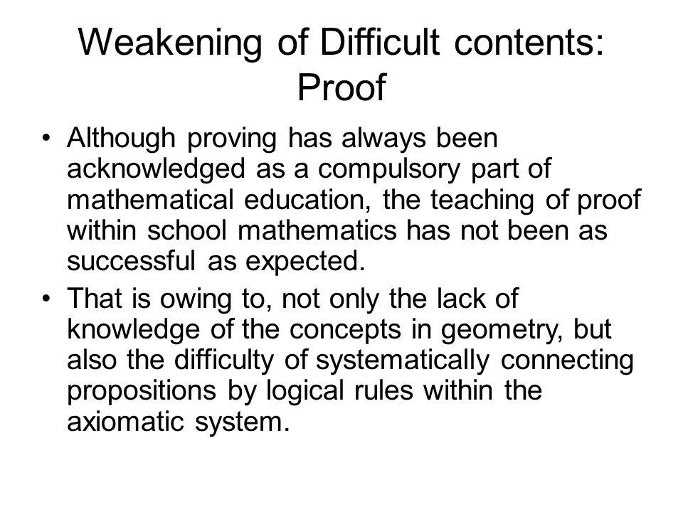 Weakening of Difficult contents: Proof