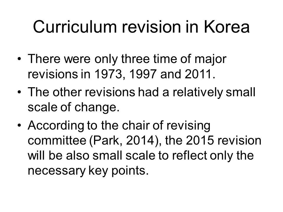 Curriculum revision in Korea