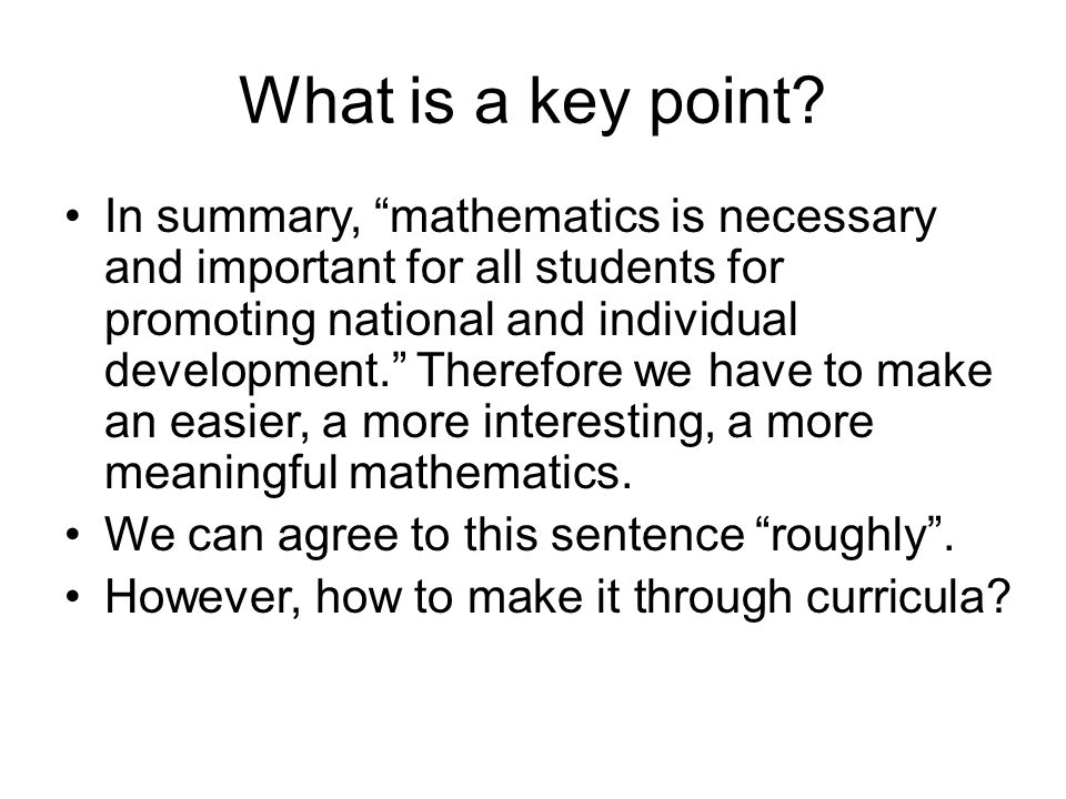 What is a key point