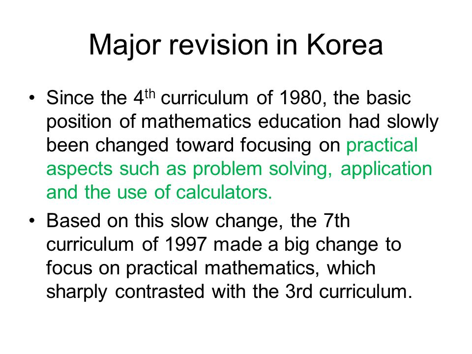 Major revision in Korea