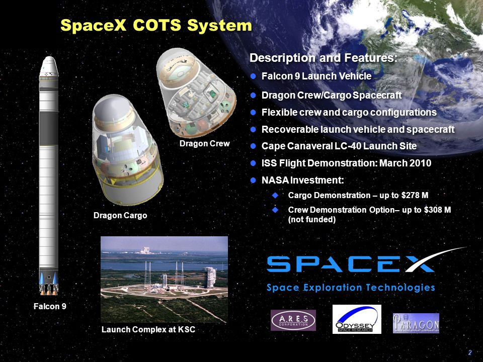 SpaceX COTS System Description and Features: Falcon 9 Launch Vehicle
