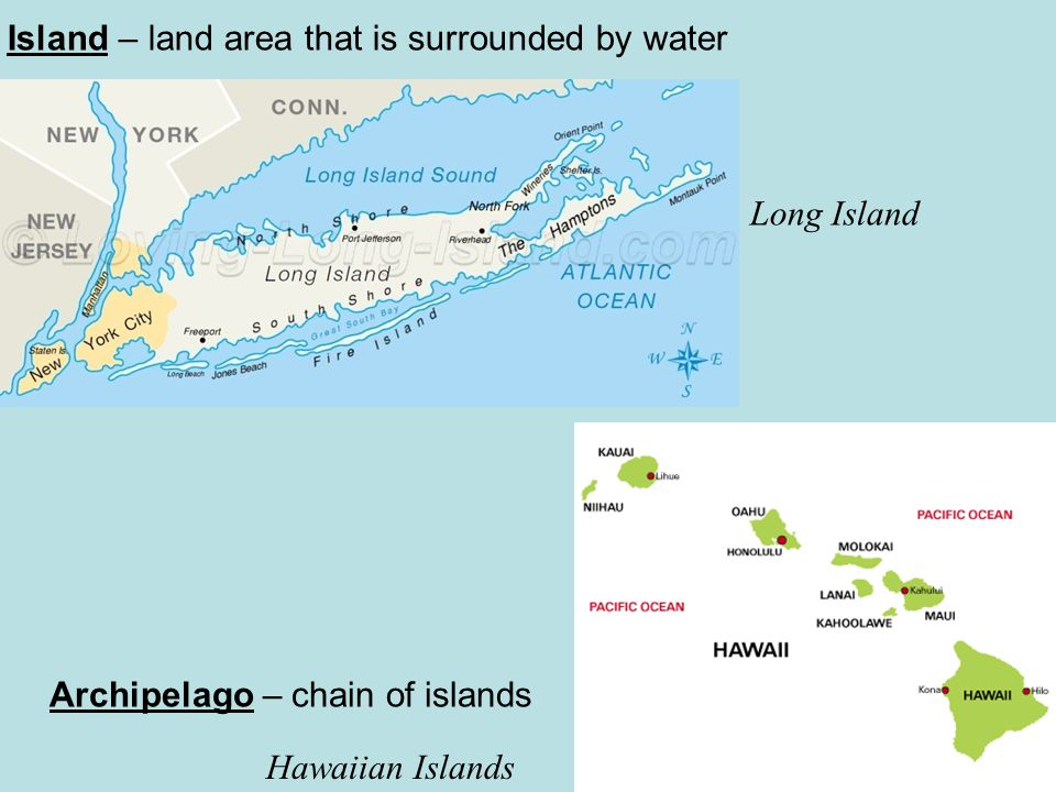 Island – land area that is surrounded by water