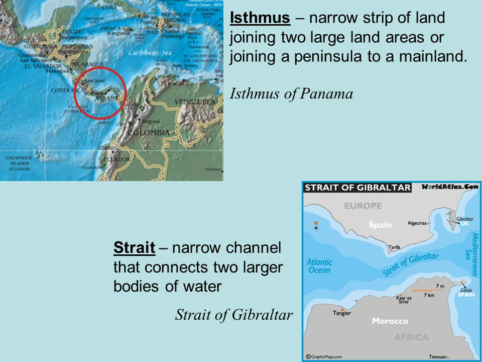 Isthmus – narrow strip of land joining two large land areas or joining a peninsula to a mainland.
