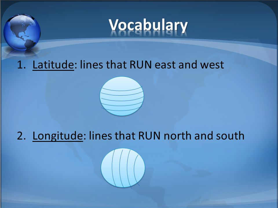 Vocabulary Latitude: lines that RUN east and west