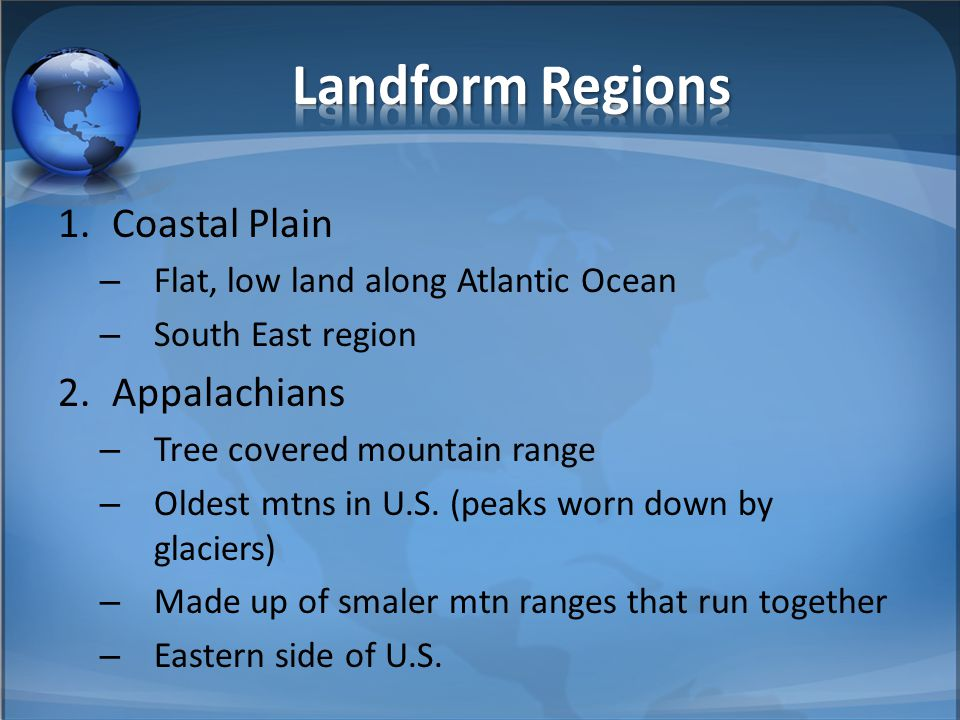 Landform Regions Coastal Plain Appalachians