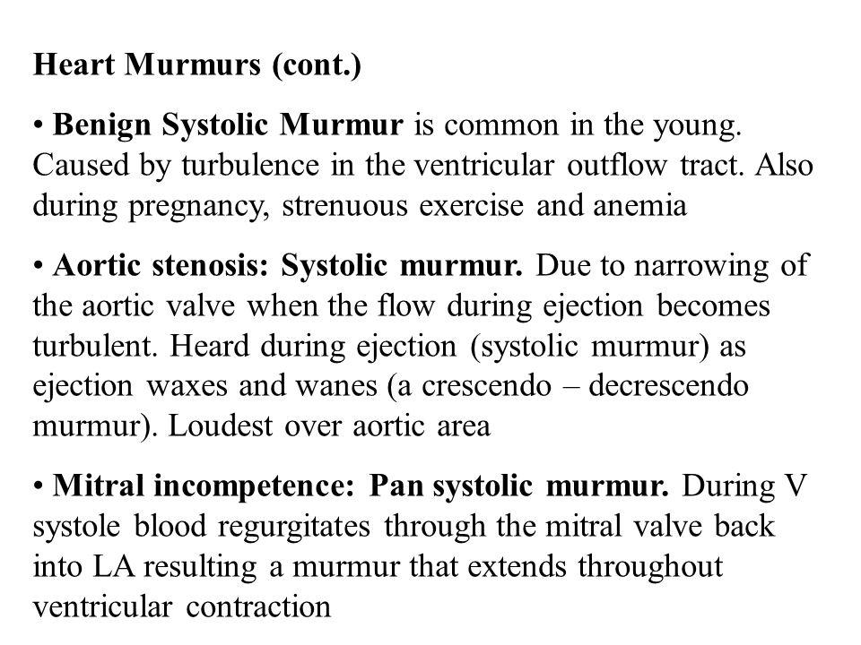 Heart Murmurs (cont.)