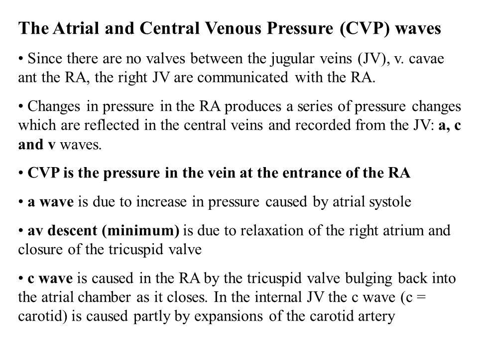 The Atrial and Central Venous Pressure (CVP) waves