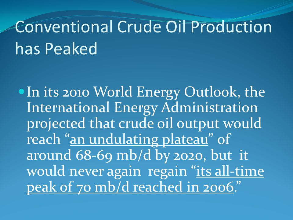 Conventional Crude Oil Production has Peaked
