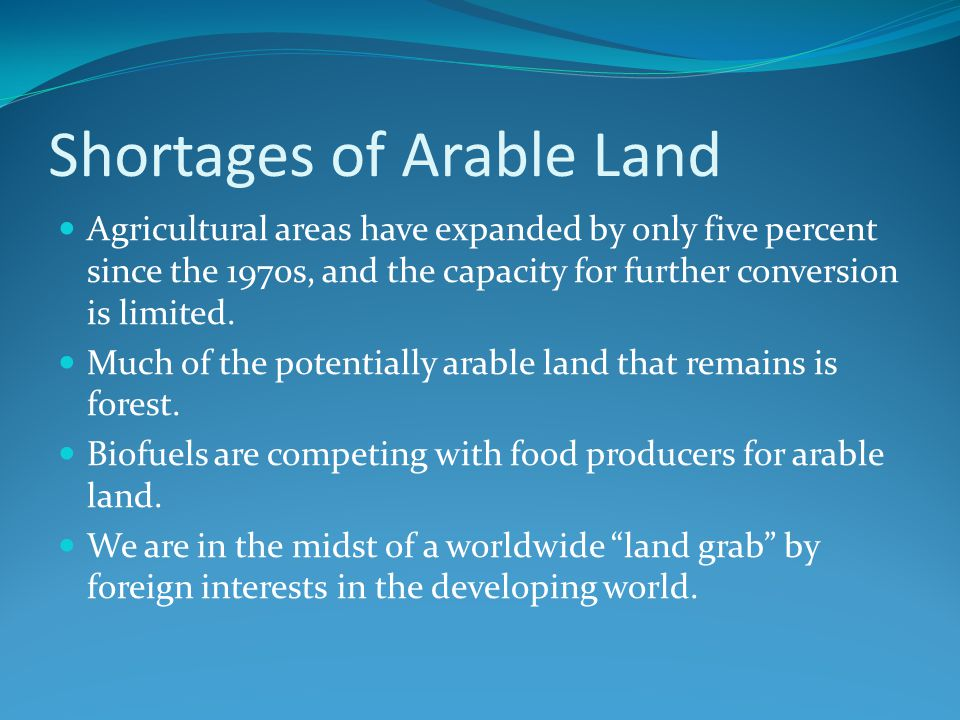 Shortages of Arable Land