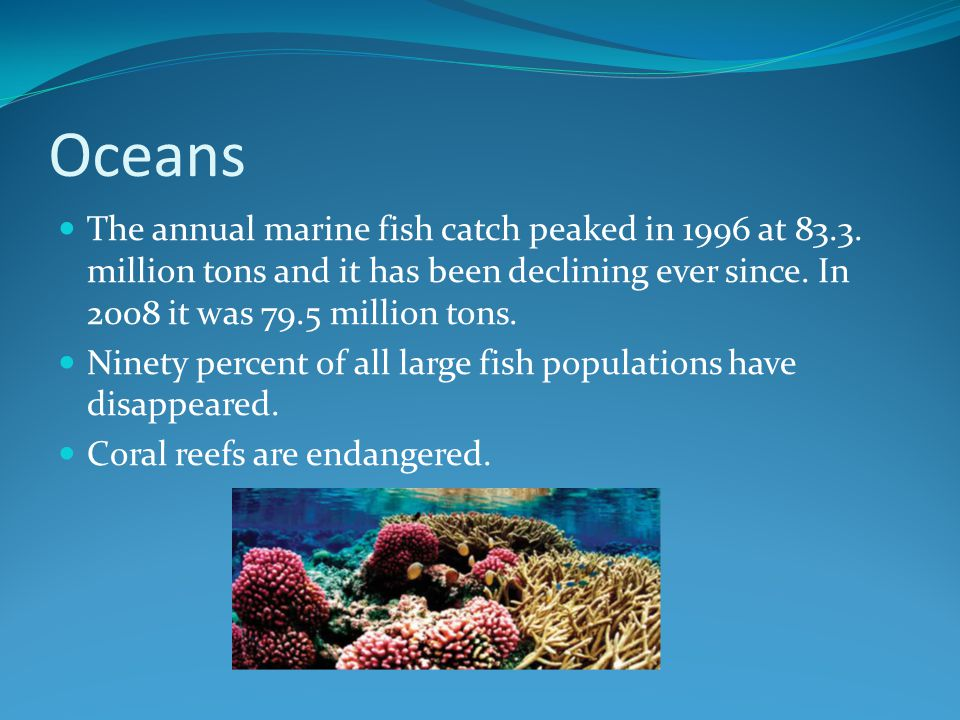 Oceans The annual marine fish catch peaked in 1996 at 83.3. million tons and it has been declining ever since. In 2008 it was 79.5 million tons.