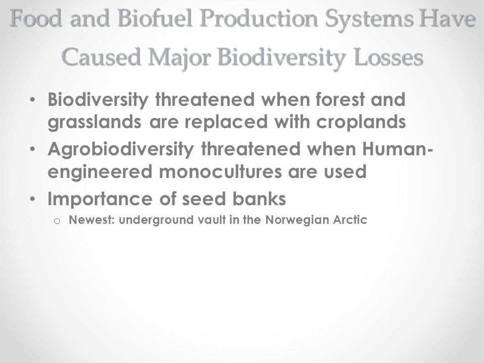 Food and Biofuel Production Systems Have Caused Major Biodiversity Losses