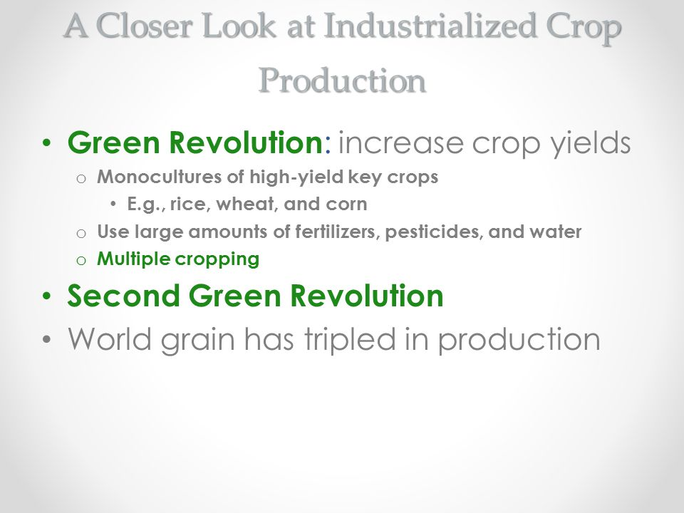 A Closer Look at Industrialized Crop Production