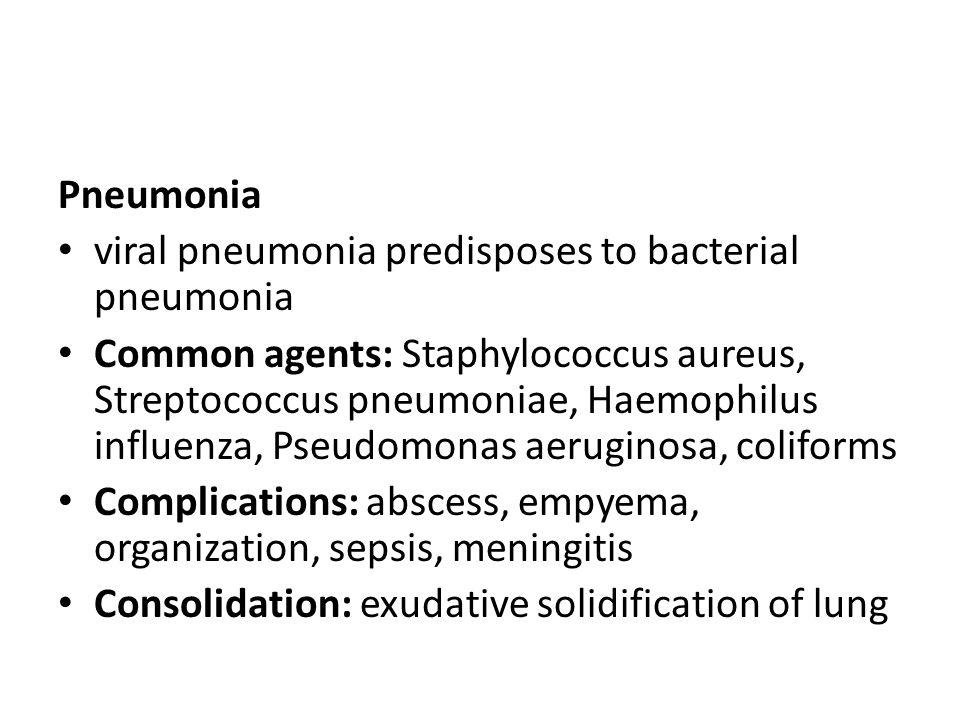 Pneumonia viral pneumonia predisposes to bacterial pneumonia.